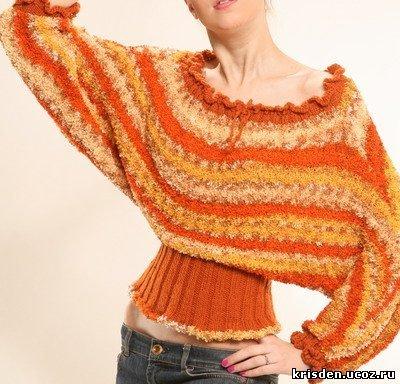Схема вязания спицами свитера-летучая мышь для большого размера